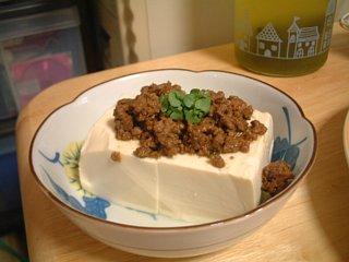 肉味噌豆腐シソの芽添え