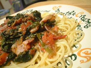 粒マスタードと赤ワインを使ったトマトスパゲティー